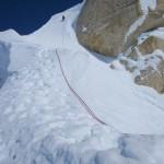 Gaining the summit ridge above Ham and Eggs
