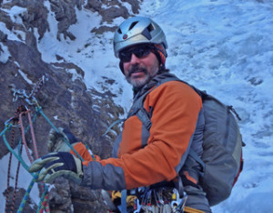 Mark Miller at the belay on The Ribbon earlier this season.
