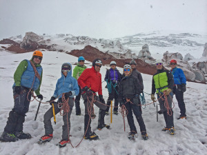 Our team finishing up a great day of training on Cotopaxi