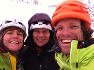 Andrés, Christel and Annie top of Bridalveil Falls, Feb 2014.