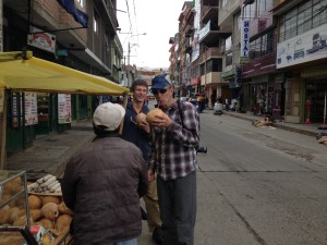 Enjoying Coconuts in Huaraz, getting hydrated for the climb.